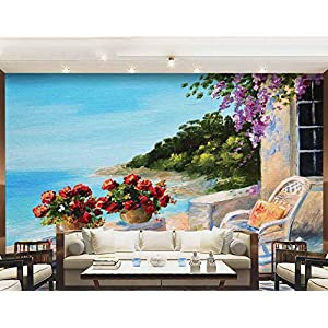 Seascape Wall Mural Decal,Sea View Balcony with Cosy Rocking Chair Flowers in Summer Sky Oil Painting Style Peel and Stick Self-Adhesive Wallpaper for Office Kids Bedroom Nursery Family,120″X83″,
