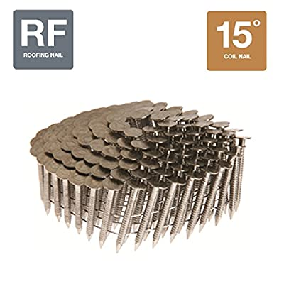 """Collated Nails 15 Degree Coil 304 Stainless Steel Roofing Nails (1-1/4"""" x 0.120"""" Roofing Nails 7200 Count Box) by Grip Rite"""