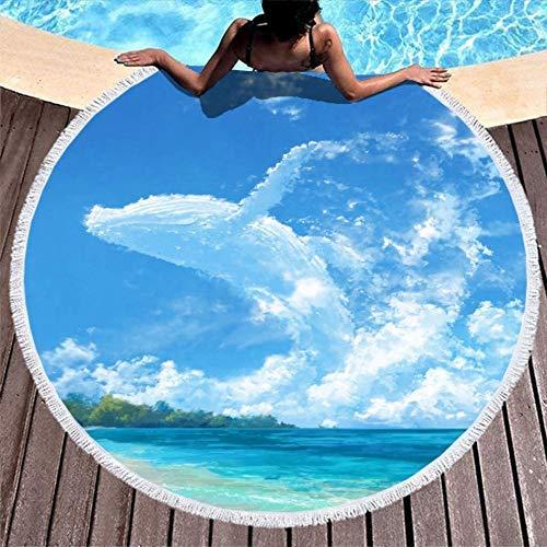 Toallas de Playa Ballena Nube Cielo Mar Blanco Alfombra de meditación con Flecos para Mujeres Hombres Niño Niña Niños