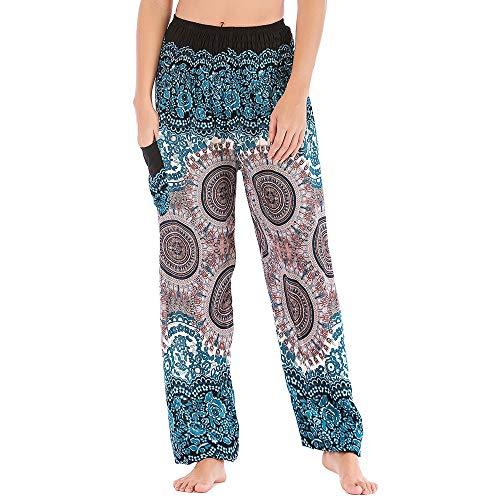 Nuofengkudu Mujer Hippie Algodón Tailandeses Pantalon Harem Cintura Alta Boho Vintage Patrones Indio Baggy Fisherman Yoga Pants Pijama Verano Playa(Blanco Brújula,Talla única)