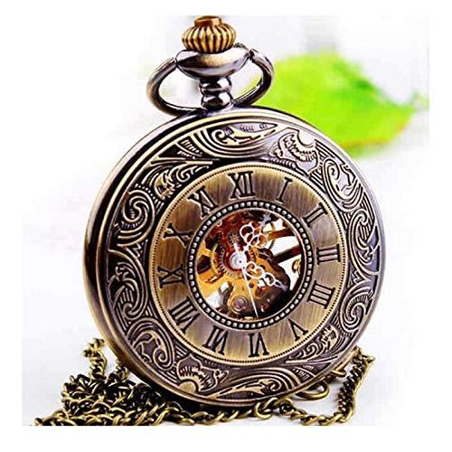 LZDD Mute Uhr Die Neue mechanische Taschenuhr Vintage europäische und amerikanische römische Hohle Taschenuhr Halskette Dual-Display-Clamshell-Herren-Tisch