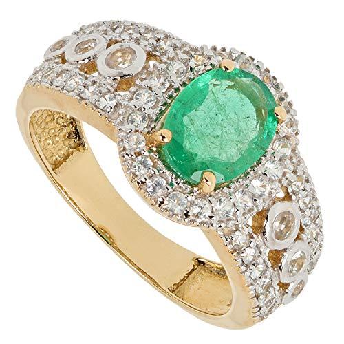 Harry Ivens Damen Ring aus echt Gold 585 mit echtem Smaragd grün und Saphir weiß RW17