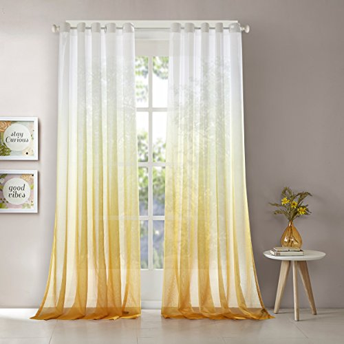 """Dreaming Casa Gradient Sheer Curtains Draperies Window Treatment Voile for Living Room Kid's Room 63 Inches Long Grommet Top (52"""" W x 63"""" L) Yellow Ramp /2 Panels"""