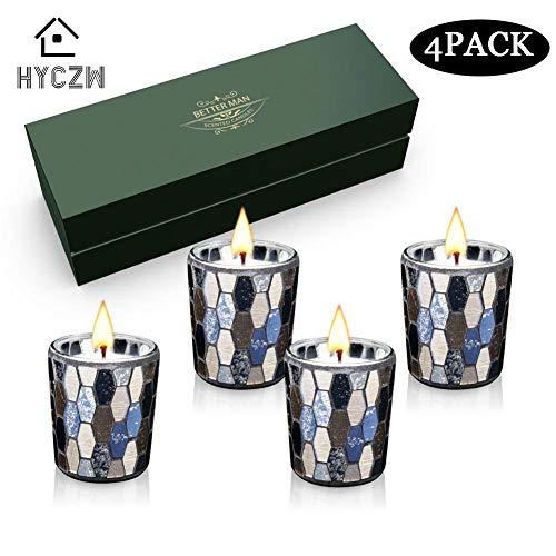 HYCZW Geurende Kaarsen Gift Set, 4 Pack Mozaïek, Rose - Lavendel - Honing En Citroen voor Lucht Schoon En Lichaam Ontspanning voor Vrouwen, Geweldige Geschenken voor Haar Of Perfect Women'S Gifts