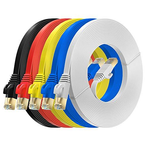 MutecPower 5m 5 Pack Cables de Red Ethernet Ultra Plano Cat 7 con enchufes RJ45 Cable Delgado Patch LAN Latiguillo - Cables de 5 Metros Rojo/Amarillo/Azul/Negro/Blanco con Bridas y Clips