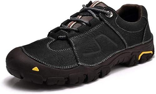 Jiansheng Chaussures en Cuir, Chaussures de Sport pour Hommes, Chaussures de Travail, Sports de Plein air, Chaussures de randonnée Anti-Collision, Noir, Kaki (37-45)