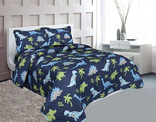 Golden linens Full Size 3 Pieces Printed New Designs Kids Bedspread/ Coverlet Sets/ Quilt Set (Full, DINOSAUR)