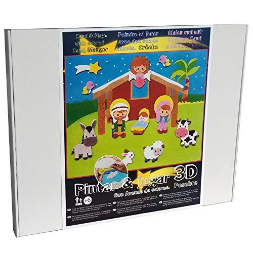 Arenart | Pack 11 Figuras Belén Navidad 45x35cm| para Pintar con Arenas de Colores | Manualidades para Niños | Dibujo Infantil | +6 años