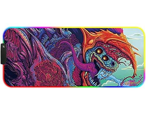 DORRISO RGB Alfombrilla de Ratón Juegos Grande XLL 900 x 400 x 3 mm Gaming Alfombrilla Raton Impermeable con Base de Goma Antideslizante para Gamers Ordenador PC y Laptop Mouse Pad Bestia