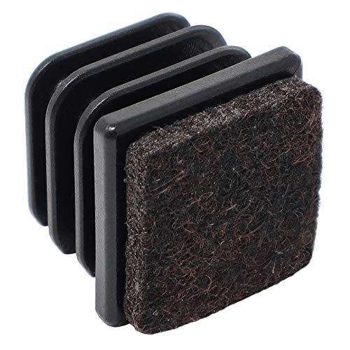 4 x Lamellenstopfen mit Filz / 25x25 mm/Innen 21x21-23x23 mm/Schwarz/quadratisch/Kunststoff-Möbelgleiter mit Filz für Stahlrohrstühle