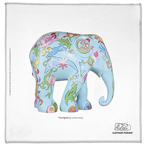 HAPPY WIPEY - Großes Premium Microfaser Reinigungstuch(25x25cm) + Pouch (10x18cm) mit 'Elephant Parade'-Motiv - Free Spirit - Leona Lewis