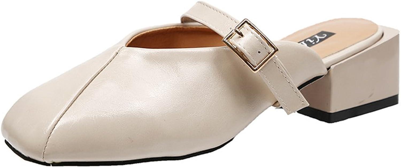 IINFINE Women's Open Toe Mules Faux Suede Cutout Sandals with Fringe Slide Block Heels