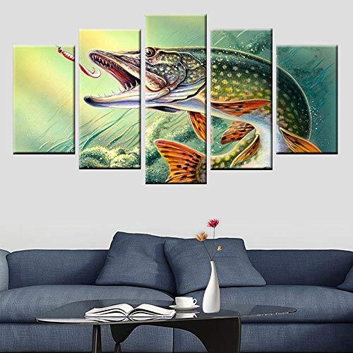 TXCY 5 Leinwandbilder 5 Panel Rahmen Druck Angeln Hecht Fisch Malerei Poster Leinwand Malerei Wohnzimmer Schlafzimmer Dekoration Malerei HD-Druck Drucke auf Leinwand
