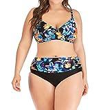 ZHUQI Damen V-Ausschnitt Bikini Frauen Plus Size Bikinis Set Drucken Patchwork Zweiteiliger Badeanzug High Waist Bademode Bikini BH top Und Slips mit Bauchkontrolle Bottom Beachwear XL