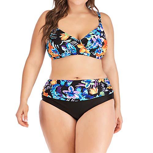 NLZQ Damen Bademode Push Up Bikini Sets Sexy Drucken Zweiteilige Badeanzug Bandeau Strandkleidung Strandmode mit Gepolstert Swimsuit Sommer 3XL