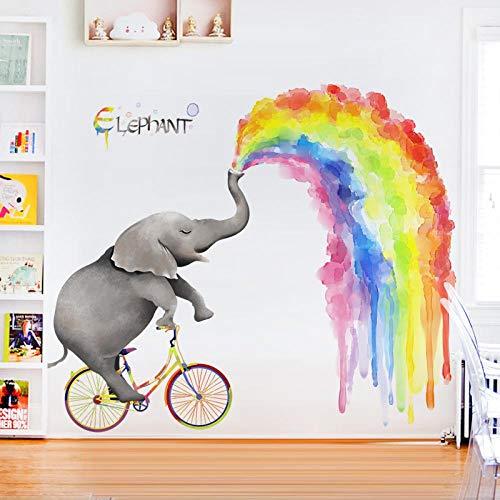 Pegatinas De Pared De Diseño De Dormitorio De Dibujos Animados Grandes Para Niños,Decoración DeHabitación De Elefante Arcoíris Creativa, Pegatinas De Papel Autoadhesivas104 * 133 Cm