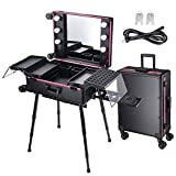 AW Rolling Makeup Case Mirror Light 26inch Extra Large Cosmetic Storage Luggage Travel Adjustable Leg Extendable Tray