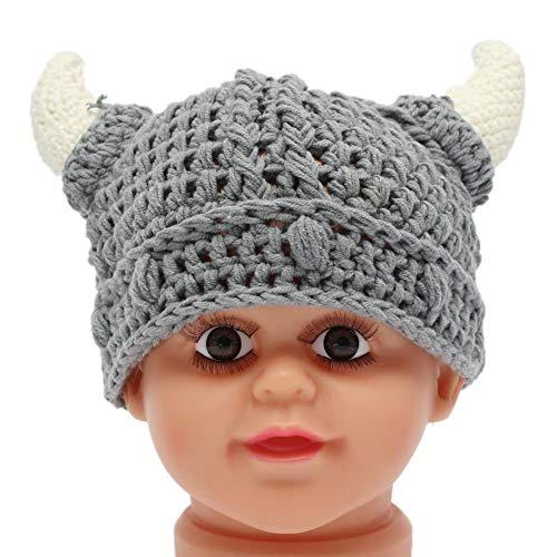 CAR Bonnet de Bébé en Tricot pour Bébé Bonnet Viking pour Tout-Petit au Crochet Bonnet Fait Main pour Bébé Garçon Fille (0-2 Ans)