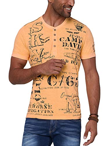 Camp David Herren Henley-Shirt mit auffälligen Used Prints