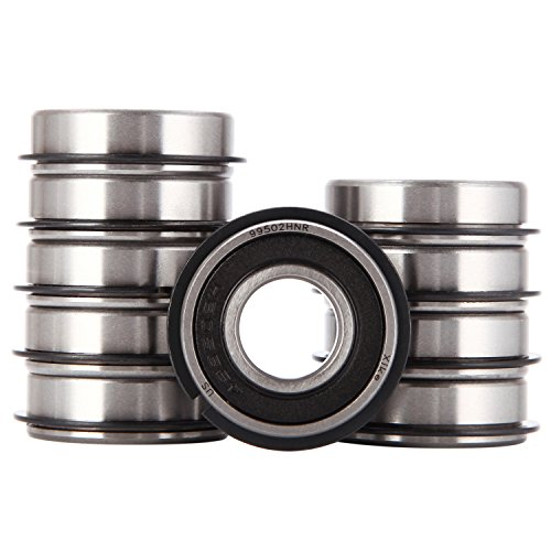 "XiKe 10 Pack 99502HNR Bearing ID 5/8"" x OD 1-3/8"" x Width 7/16"", Replacement for Go Kart, Mini Bikes and Lawn Mowe Wheel Hub Etc, Double Seal, Snap Ring and Pre-Lubricated."