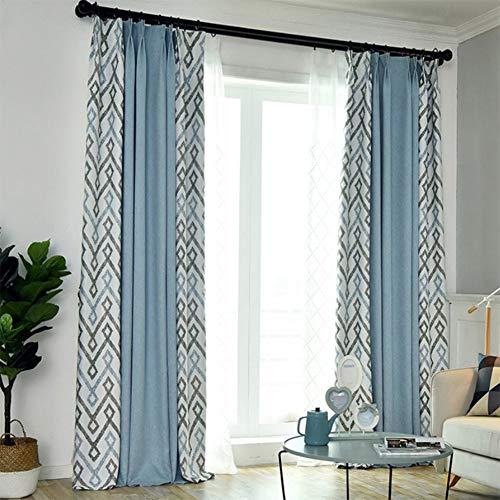 ZYY-Home curtain Geometrischer Drucken Verdunkelungsvorhang Nähen Kräuselband Gardinen Schlafzimmer Thermogardine 2 Stück Blickdicht Gardine,Blau,W175xL140cm