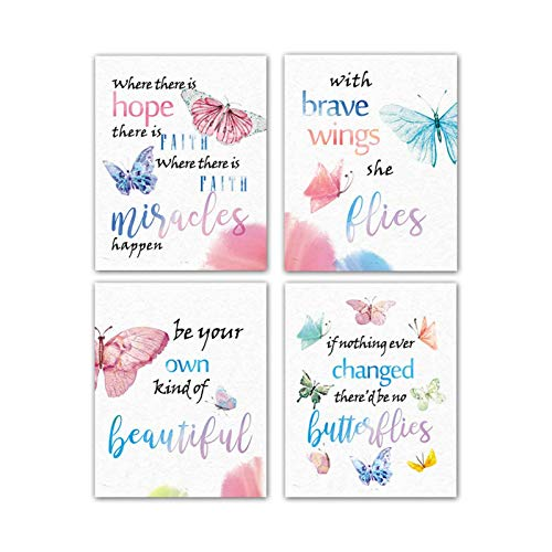 "Modern Art Watercolor Butterfly Inspirational Quote Wall Poster Prints Set of 4 (8""X10""Canvas Picture) Kids Kindergarten Classroom Office Children Girls Room Decor Home Decor Unframed"