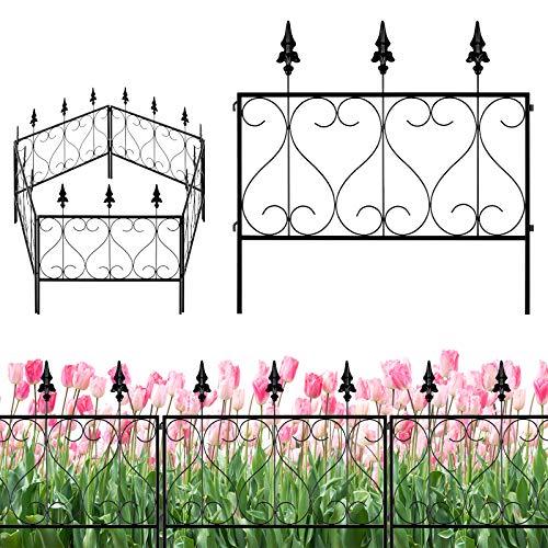 Sunix Garden Fence 24' W x 24' H, Landscape Wrought Iron Wire Border, Patio Fences Flower Bed Fencing, Barrier Section Panels Decor - Set of 5