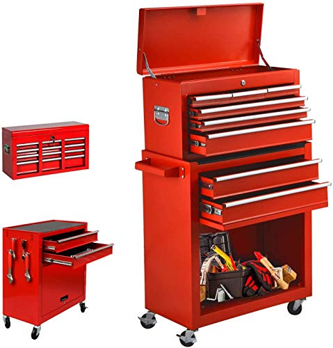 8-Drawer Rolling Tool Chest, Keyed Locking System Tool Box High Capacity Tool Cabinet with Sliding Drawers and 4 Universal Wheels, Movable Toolbox for Workshop Machinery Garage (Real red)
