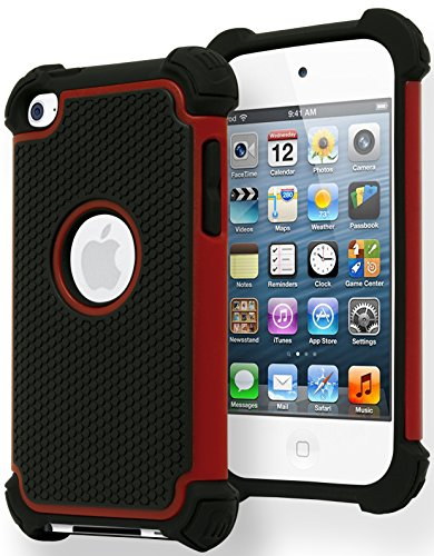 iPod Touch 4 Case, Bastex Hybrid Slim Fit Black Rubber Silicone Cover Hard Plastic Red & Black Shock Case for Apple iPod Touch 4, 4th Generation