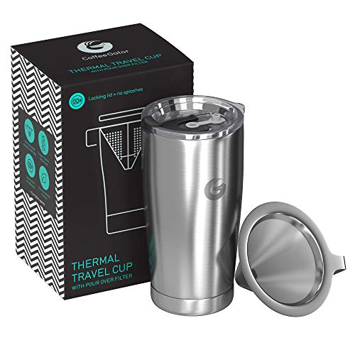 Coffee Gator Pour Over Kaffeebereiter – All-in-One Thermo-Kaffeebecher für unterwegs und Handtropf-Kaffeemaschine – Vakuumisolierter Edelstahl mit papierlosem Filter - 585ml - Silber