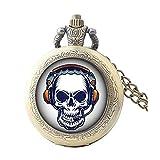Reloj de bolsillo con diseño de calavera con auriculares, reloj de bolsillo de cristal único, reloj de bolsillo personalizado