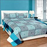 IVAZA Premium 160 TC Latest Beautiful 3D bedsheet Double Bed Cotton with Two Pillow Covers Aerrow