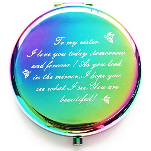 Onederful Sister Gifts from Sister Brother,Sisters Birthday Gift Ideas,Rainbow Colorful Compact Makeup Mirror Gifts for Birthday, Christmas, Graduation Present for Friend,Girls,Sister-to My Sister