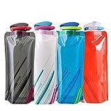 700ml Pieghevole Borraccia Bottiglia d'Acqua pieghevole riutilizzabile in PE Alimentare/Escursionismo sportivo all'aperto/4 colori/4 pezzi