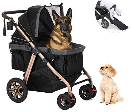 HPZ Pet Rover Titan-HD Premium Super-Sized Dog/Cat/Pet Stroller SUV Travel Carriage/w Access Ramp/100Lbs Capacity/Pumpless Rubber Wheels/Aluminum Frame for Small, Med, Large, XL Pets (Black)