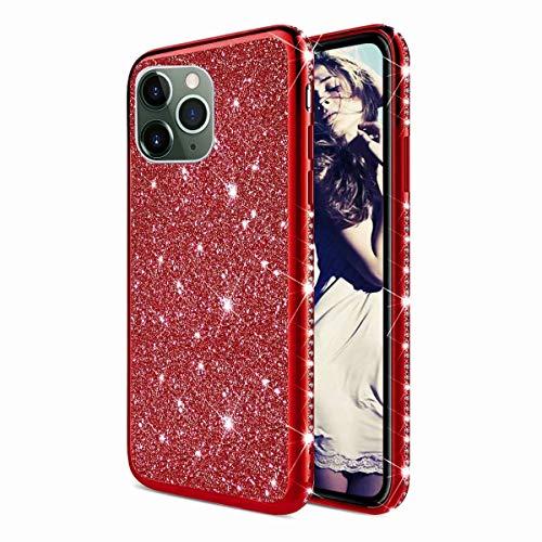 TYWZ Strass Hülle für iPhone 12 Pro,Glitzer Diamant Glanz Bling Mädchen Case Cover Ultra-Slim Stoßfeste Anti-Rutsch Silikon Schutzhülle-Rot