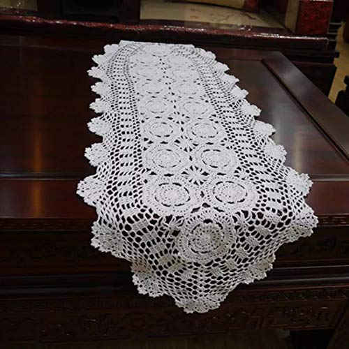 Damanni Oval Cotton Handmade Crochet Lace Table Runner Doilies Dresser Scarf,15 Inch by 35 Inch,White