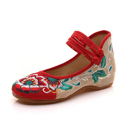 Mary Jane Flats Canvas Embroideried Hibiscus Mujer Zapatos Chinos Casual Flattie Aeróbic Zapatos (Rojo,37 EU)