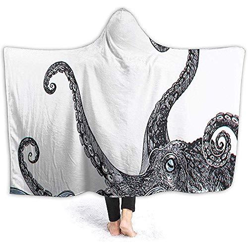 Simone-Shop Octopus Tentacles in White Hooded Blanket knuffelige capuchon-overwerphoes soft thermische hoodie draagbare deken flanel