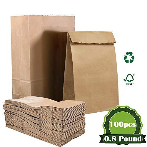100 Stück Papiertüten Braun, Verdicken Brottüten Süßigkeiten Geschenktüten Papier Papiertaschen Papiertüten Klein Kinderparty Papiertaschen Geburtstage Mittagessen Brottasche 0.8 lb