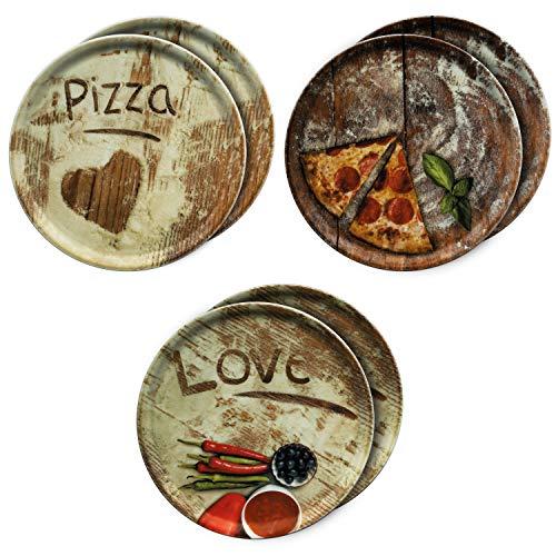 MamboCat 6-er Set Pizzateller Ø 33,3cm Volldekor Motive Lieblings-, Oliven- & Salami Pizza I große Teller aus Porzellan zum Anrichten für Pizza und Co oder zum Servieren als Wurst und Käseplatten