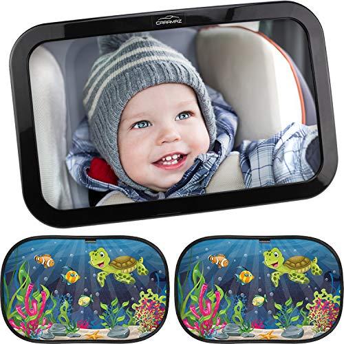 Espejo de asiento trasero para bebés con protección solar.