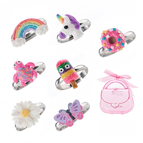 Juego de anillos ajustables para niñas pequeñas - colorido unicornio, anillos de mariposa para niños, conjunto de joyas para niños