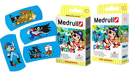 Medrull Kinder Pflaster Set PIRATES Atmungsaktiv 2 Packs.
