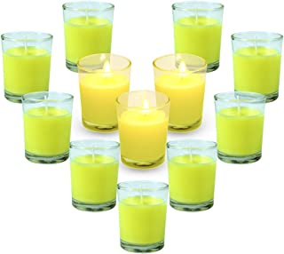 SCENTORINI Votive Citronella Candles, 12 x 2.0oz, Aromatherapy Soy Wax Scented Candles Gift Set, for Wedding, Outdoor/Indoor, Clear Glass