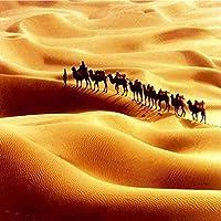 QQYYYT 壁アートポスター-砂漠を歩く3D壁画壁紙リビングルームラクダ壁紙アート背景ポスター壁装飾絵画