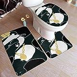 CDMT-XU1 Juego de Alfombrillas de baño a la Moda con doblaje de Panda Hiphop, Alfombrillas Antideslizantes de 3 Piezas, Alfombrilla de baño + Contorno + Tapa de Inodoro