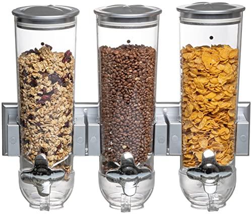 United Entertainment - Dispensador de cereales/dispensador de cereales/dispensador triple con soporte de pared para cereales, cereales y cereales. - 41x13.5x32 cm