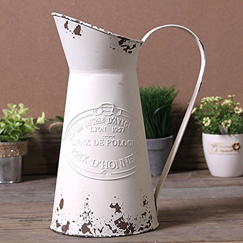 VANCORE Shabby Chic Large Metal Jug Flower Pitcher Vase