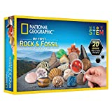 NATIONAL GEOGRAPHIC Rock & Fossil Collection - Rock Collection for Kids, 20 Rocks and Fossils with Shark Teeth, Agate, Rose Quartz, Jasper, Coral, & More, Great STEM Science Kit for Boys and Girls